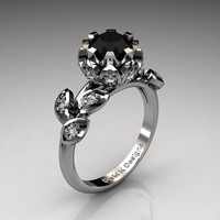Unique 14K White Gold 1.0 Ct Black And White Diamond Lifetime Flower Engagement Ring Wedding Ring R1032-14KWGDBD