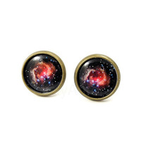 Galaxy Stud Earrings - Black Pink Earring Posts - Space Jewelry - Round Earrings - Free Shipping - Under 25