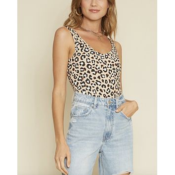 Safari Love Leopard Print Sleeveless Knit Bodysuit in Beige