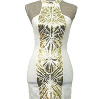 Midnight Masquerade Dress - White + Gold