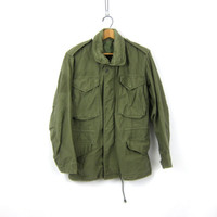 Army Coat Military Jacket 80s Commando Cargo Grunge Oversize Olive Drab Green Jacket 1980s Vintage Camo Anorak Mens SMALL