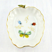 Vintage Trinket Ring Dish, White Porcelain Apple Dish, Insects Bugs Butterfly Ladybug Beetle, 1970s Home Decor, Cute Teacher Gardeners Gift
