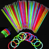 "100 8"" Glow Sticks Bracelets Light Neon Colors Party Favors"
