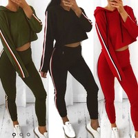 Women'S Long-Sleeved Fashion Leisure Sports Two-Piece Suit
