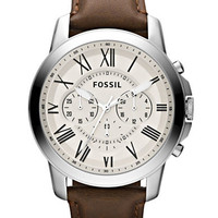 Fossil Mens Grant Chronograph Stainless Steel and Brown Leather Watch
