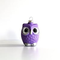 Purple Owl Christmas Ornament: dotted Owl Ornament Hand Painted Glass Ornament Christmas Purple christmas ornaments