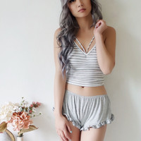 Shayna Striped Cut Out Top (HEATHER GREY/WHITE)
