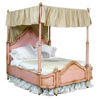 Vintage Pink Painted Canopy Bed