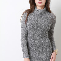 Marled Knit Turtleneck Mini Dress