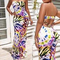 New women's sexy tube top print long dress hot sale tie-dye halter dress