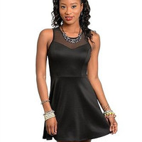 The Black Mesh Keyhole Back Fit and Flare Dress