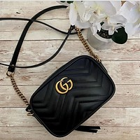 GUCCI GG Marmont Ruched Mini Shoulder Bag