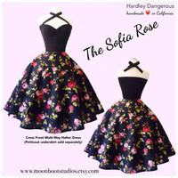 The Sofia Rose, Sexy Rockabilly BLACK Floral Cross Front Halter Dress, Vintage Modern Bridesmaid