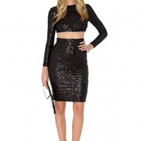 Missguided - Geanna Sequin Mesh Cut Out Dress In Black