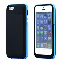 GEARONIC Black Blue External Rechargeable 2500mAh iPhone 5 2pc Backup Battery Hard Shell Back Case - Fits All Versions of iPhone 5 - Lightning Connector Integrated