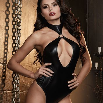 Faux Leather Restraint Halter Teddy