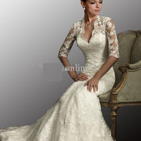 Vintage Beautiful Backless Vintage Beaded Mermaid Lace Beach Wedding Dress With V Neck Long Sleeves Court Train