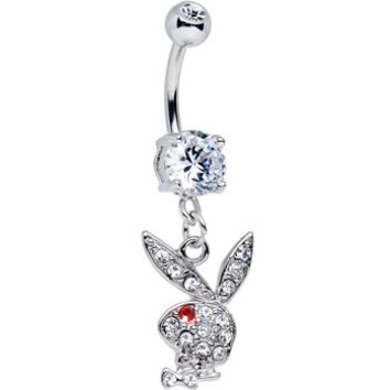 Licensed Clear Gem and Red Gem Eye Playboy Bunny Dangle Belly Ring | Body Candy Body Jewelry