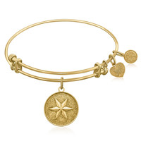 Expandable Bangle in Yellow Tone Brass with Shining Star Hope Symbol