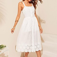 White Embroidered Eyelet Hem Button Up Boho Dress Women Straps Empire Dress Solid Fit and Flare Long Cami Dresses