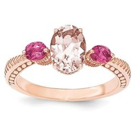 Sterling Silver Rose Gold Plated Oval Morganite & Pink Tourmaline Ring