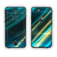 The Teal & Yellow Abstract Glowing Lines Apple iPhone 6 Plus LifeProof Nuud Case Skin Set