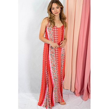 Sunny Day Vibes Coral Printed Maxi Beach Dress