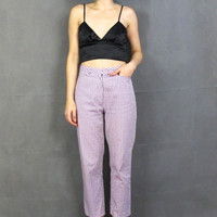 90s Gingham Print Cropped Trousers Preppy Slim Fit Pants Purple Lilac Lavender Checkered Capris Mid Rise Pants Spring Pastel Trousers (M)