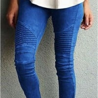 Motorcycle Pleated Jeggings - Blue