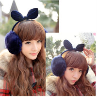 Faux Fur Ear Muff with Bowtie Top