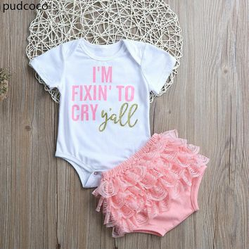 I'm fixin' to Cry Y'all Baby Girl Onsie + Ruffled Diaper Cover 2pc Outfit