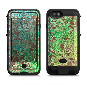The Bright Green Floral Laced  iPhone 6/6s Plus LifeProof Fre POWER Case Skin Kit