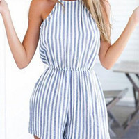 Blue and White Striped Jumpsuits Sleeveless Linen Open Back Rompers