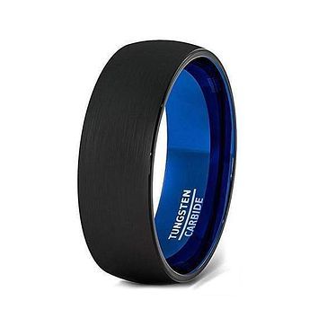 Black Tungsten Wedding Band With Deep Blue Inside and Brushed Finish - 6mm & 8mm