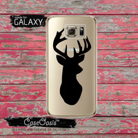 Black Deer Antlers Silhouette Hunting Antler Elk Tumblr Inspired Clear Galaxy S6 Case and Clear Galaxy S6 Edge Case Custom Samsung Case
