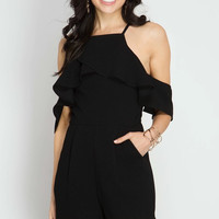 Cold Shoulder Romper - Black