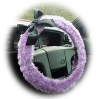 Cute Lilac steering wheel cover faux furry fur fluffy fuzzy car with Black satin Bow heliotrope girly girl cute purple lavender