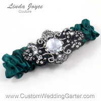Green and Black Wedding Garter Bridal 589 Jungle Green Hunter Forest Prom Garter Couture Beaded Luxury Plus Size & Queen Size Available