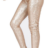 Sequin Pants - Gold - Ships Wednesday 11/9