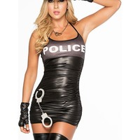 Adult Women's Police Officer Sexy Cop Strappy Exposed Back 3pc Halloween Costume