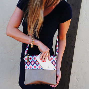 Aztec cross body bag, leather cross body, shoulder bag, cross body tote bag, Mint coral and navy cross body bag, small crossbody bag