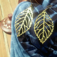 Antique Bronze Leaf Earrings, Hippie Festival Fall Autumn Accessories, Perfect Woman's Gift for Christmas or Birthday