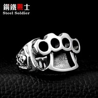 Steel soldier High Quanlity New 2015 Men's repair tool Ring, 316L Stainless Steel cool fist skull Rings fashion Jewelry