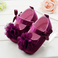 Toddler Kids Baby Girls First Walker bBowknot Flower Soft Bottom Shoes Baby Shoes
