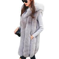 2018 Winter Long Rabbit Fur Coat Women Plus Size Sleeveless Fake Fur Jacket Thick Warm Hooded Faux Fur Vest Gilet Fourrure Femme