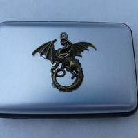 Bronze dragon  grey Credit Card Holder, Aluminum Credit Card Wallet