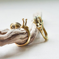 Smiling Snail Ring - Brass Snail Ring - Cute Brass Jewelry - Boho Jewelry