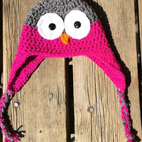 Owl Baby Girl Crochet Winter Hat Crochet Owl Photo Prop Hat Toddler Hat 3-6 months-READY TO SHIP