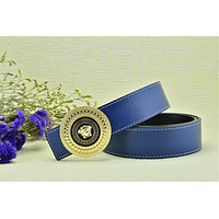 Versace Litchi Stria Belt Men's Gold Buckle Blue Leather Belt - Custom Fit