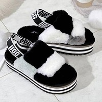 UGG Fashion New Color-blocking Plush Platform Slippers Sandals Furry Boots